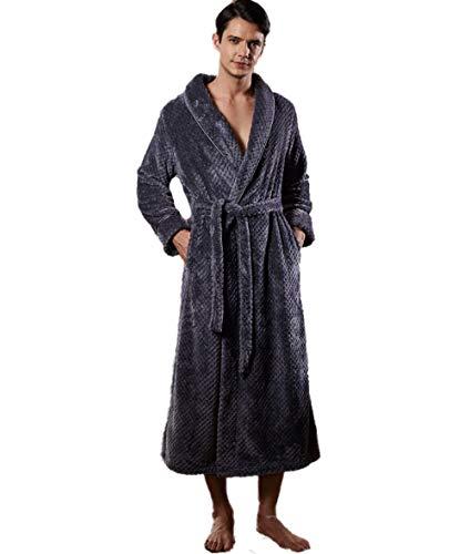 BLACK ELL Bata suave y ligera, albornoz de franela, camisón largo de terciopelo coral grueso, talla L, color gris