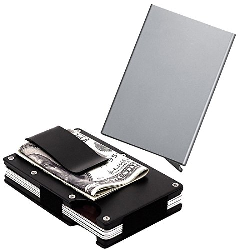 Stealodeal Black Metal Wallet Money Clip with Silver Automatic Pop-Up Button Card Holder