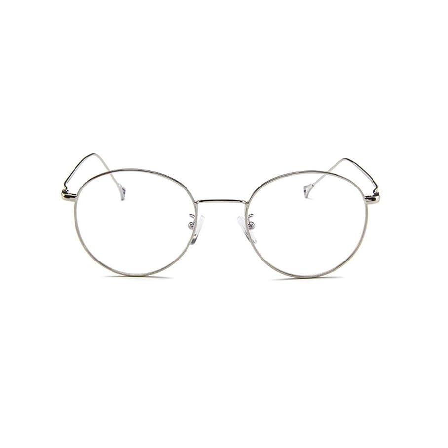 慈悲カウンタ混乱させる韓国のメガネフレームの男性と女性のレトロフラットメガネメタルトレンディメガネファッション近視メガネフレーム-スライバー