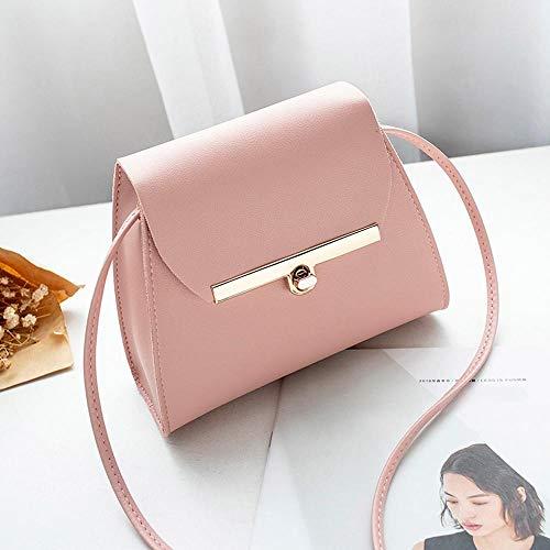 VFJLR Bolsos de Cuero de la PU del Hombro de la Aleta Simple Mujeres Niñas Color Puro Mini Messenger Chest Bag Cross Body Handbags Bolsa Feminina Pink