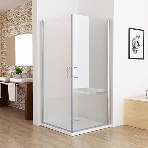 MIQU 90x90x185cm Duschkabine Eckeinstieg 180° Schwingtür Duschwand Dusche mit 6mm NANO Glas