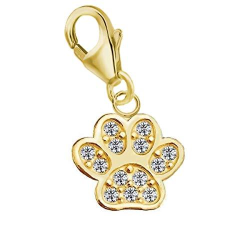 Pfötchen verziert mit Kristallen von Swarovski® Charm Anhänger 925 Echt Silber Gold Pfote für Armband Bettelarmband Mädchen Damen (Gold)