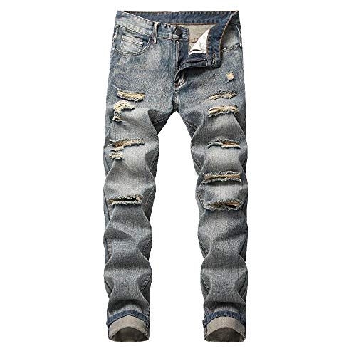 NOBRAND Herren Tattered Straight Tube Fit Elastic Free Jeans More Tattered Herren Hose Gr. 48 DE, grau