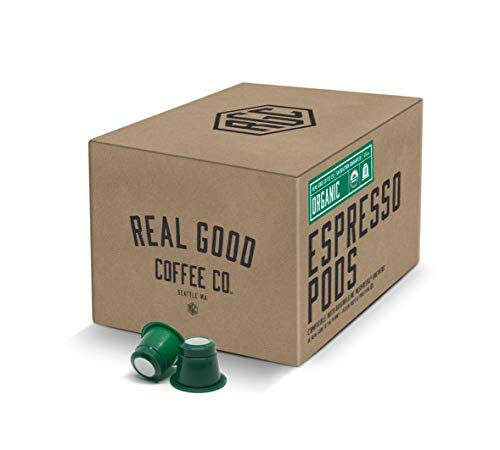 Real Good Coffee Co Recyclable Espresso Capsules, Certified Organic Espresso Pods Strongest Intensity, Compatible with Nespresso Original Brewers, 36 Count