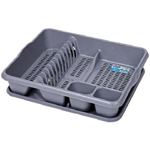 DISH DRAINER WITH DRAINER TRAY PLASTIC GREY SINK PLATE RACK -Grey / SLIVER by 7th-AVE:Interoot
