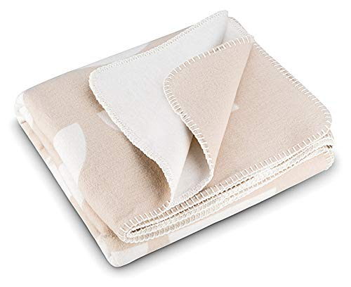 RIEMA Kuscheldecke aus Bio-Baumwolle | kuschelig weich Sofadecke in beige-weiß | Oeko-TEX Zertifiziert | Made in Germany