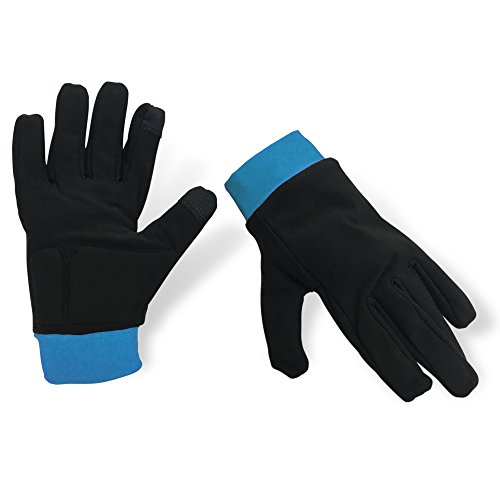 Water-Resistant Ice Skating Gloves with Protective Padding, Touchscreen Fingertips, Fleece Lining (Black & Blue, Medium)