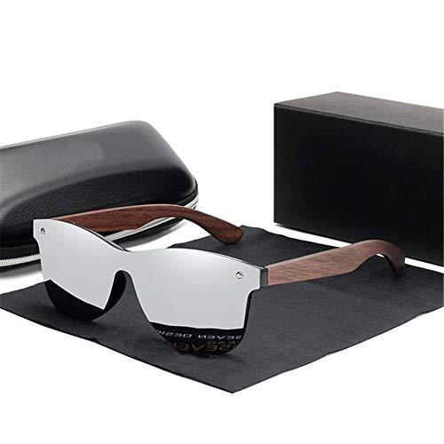 UKKD Gafas de sol Gafas De Sol Hechas A Mano Hombres Polarizados Nueces De Madera Gafas De Madera Espejo Vintage Uv400-Silver Walnut Wood