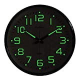 Plumeet Night Light Wall Clocks - 13 Inches Clock with Silent Non-Ticking Glowing Function - Great...