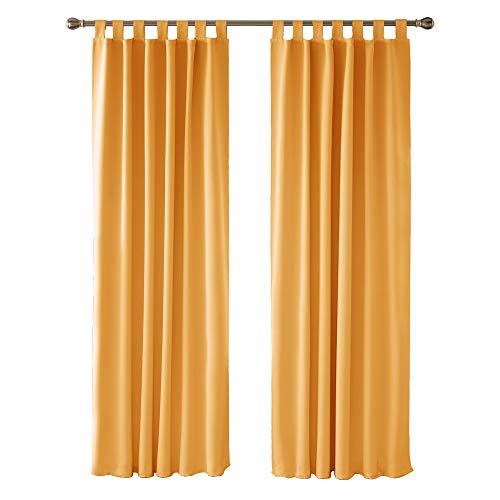 Deconovo Thermovorhang Blickdicht Gardinen mit Schlaufen Verdunkelungsvorhang Schlafzimmer 280x140 cm Orange 2er Set
