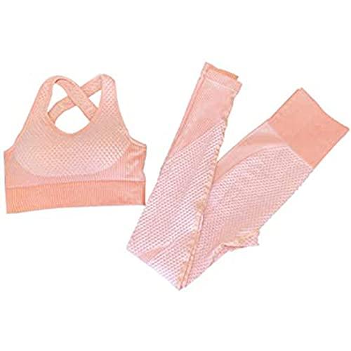 UYIDE Mujeres Sujetador sin Costuras Traje de Yoga Traje Deportivo Ropa de Entrenamiento Conjunto Pantalones para Deportes,Rosado,M