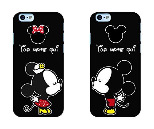 troppofigo Coppia Cover iPhone Minnie e Topolino Personalizzate con Nomi,Resistente in Gomma Nera