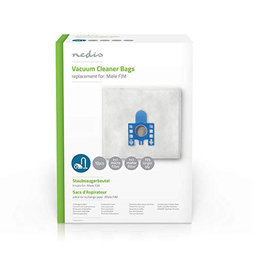 NEDIS Vacuum Cleaner Bag Vacuum Cleaner Bag, Motor & Micro Filter Replacement for Miele FJM, 12x Pcs White