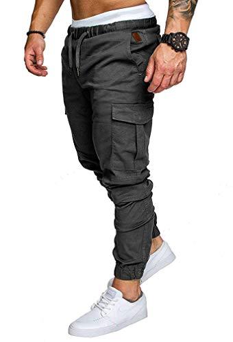 Socluer Homme Pantalons Casual Jeans Sport Jogging Slim Fit Militaire Cargo Montagne Baggy Pants Multi Poches Grande  -  Gris Feu  -  L