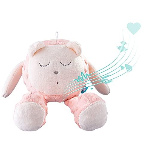 myHummy avec capteur Ourson Snoozy Rose Blanc Premium | Peluche Bruit Blanc bébé | Machine à Bruit Blanc - Battement Coeur Bruit des Vagues | My hummy avec capteur de Sommeil Peluche endormissement