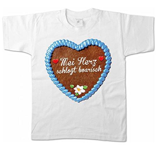 Artdiktat Jungen T-Shirt - Lebkuchenherz - MEI Herz schlogt boarisch Größe 152/164, weiß