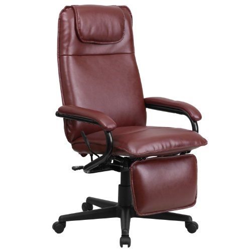 Flash Furniture High Back Burgundy LeatherSoft Executive Reclining Ergonomic Swivel Office Chair with Arms