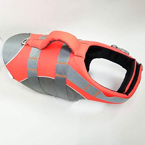 XDYFF Hundeschwimmweste Schwimmweste Schwimmtraining für Hunde, Outdoor Sommer Badebekleidung für Hunde/Haustiere,Orange,S