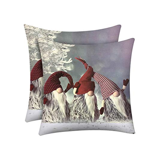 2PCS Cushion Cover Christmas Decorations Print Polyester Sofa Car Pillow Case Home Decor 45 * 45cm Merry Xmas Decorative Party Ornaments Gifts For Kids