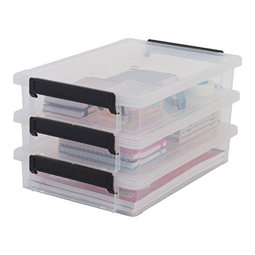 Iris Ohyama, lote de 3 cajas de almacenamiento para papel - Little Large Box - LLB-A4, plástico, transparente, 4L, 36,5 x 25 x 7 cm