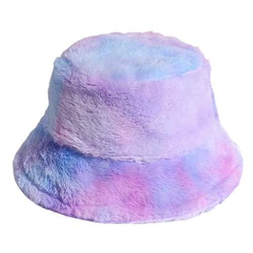kyman Sombrero Elegante del Cubo, Las Mujeres del Invierno del Arco Iris del Arco Iris Tinte del Cubo del Tinte con la Pelusa esponjosa Gruesa clida Gorra de Pescador 2 (Color : 2#)