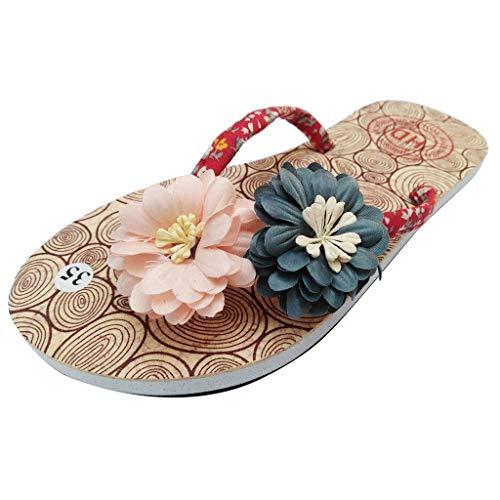 Sandalias para Mujer Vintage Antideslizantes Bohemia Casuales Zapatos de Madera con Flip Flop Zapatillas de Playa Planas Romanas Chanclas De Damas riou