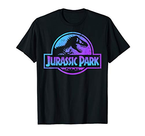 Jurassic Park Blue & Purple Fossil Logo Graphic T-Shirt