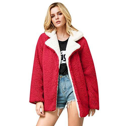 Lazzboy Frauen Beiläufiger Fester Faux Pelz Outwear Wolljacke Loser Umlegekragen Mantel Pelzmantel Damen Winterjacke Warme Künstliche Wollmantel Reißverschluss Jacke(Rot,3XL)