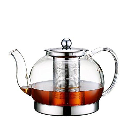 TOYO HOFU Hitzebeständige Teekanne aus klarem Glas mit Aufguss, Induktionsherd Kesselpresse, 1200 ml