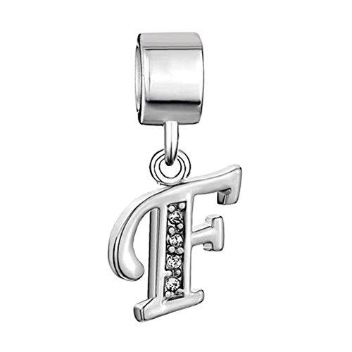 Uniqueen Charm a ciondolo a forma di lettere dell'alfabeto, dalla A alla Z, compatibile con bracciali Pandora, Chamilia e Troll, decorato con zirconi, rame, cod. Letter