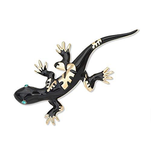 Pin de solapa de Gecko esmaltado vintage, broche de lagarto de cristal, cárdigan, sombrero, bufanda, Pin insignia para hombres y mujeres