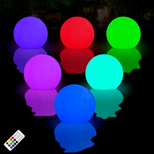 LOFTEK Floating Pool Lights Inflatable Waterproof IP68, 15inch 16 Color Changing LED Ball for Outdoor Pool Beach, Christmas Party Decorations,Garden Backyard, Patio Lawn, Night Light -2Pack