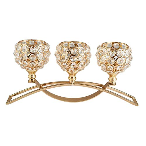 no brand Candelabro de cristal de 3 brazos Vela de comedor Decoración Centro de de boda - de Oro, Individuales