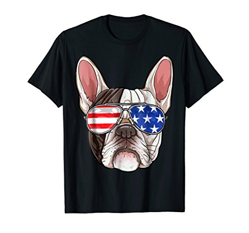 French Bulldog American Sunglasses T shirt 4th of July Dog