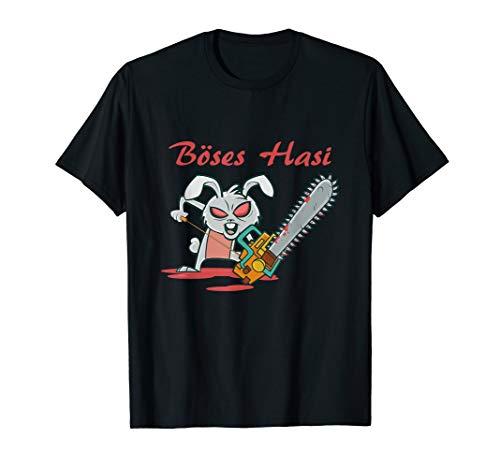 Böses Hasi T-Shirt Männer Frauen Kettensäge Fun Shirt