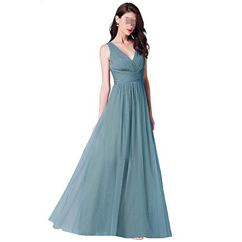 Dames V-hals Mesh Lange Jurk Effen Kleur Elegante Mouwloos Hoge Taille Slanke Zuster Groep Avond Party Bruidsjurk