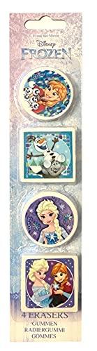 TrendyMaker Juego de 4 gomas de borrar, ideal para bolsas escolares, estuches o como regalo para bolsas de fiesta (Disney Frozen, Frozen de hielo)