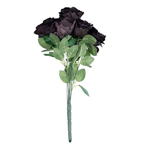 Artibetter Rosa de Seda Artificial 7 Cabezas 7 Hojas Ramo de Flores de Rosa Falsa Negra Arreglo de Boda DIY Centro de…
