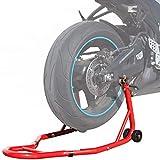 DDHVVOH Caballete de Moto Soporte Posterior Universal PortáTil Y MóVil Tipo Elevador Horquillas Y Ruedas Color Rojo Y Material de Acero