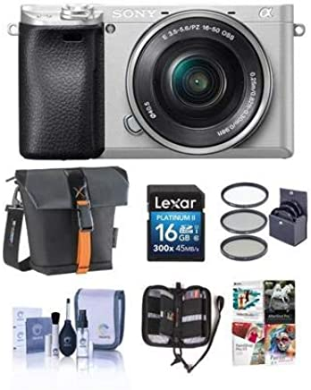 $848 Get Sony Alpha a6300 Mirrorless Digital Camera Body Silver ith 16-50mm Lens - Bundle with 16GB Class 10 SDHC Card, Holster Case, 40.5mm Filter Kit, Cleaning Kit, Memory Wallet, Pc Software Package
