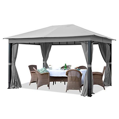TOOLPORT Gartenpavillon 3x4 m ALU Premium ca. 220 g/m² Dachplane wasserdicht Pavillon 4 Seitenteile Gartenzelt hellgrau ca. 9x9cm Profil