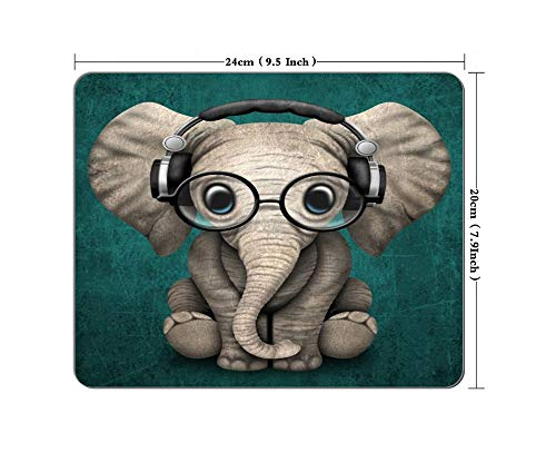 Elephant Mouse Pad with Glasses Non-Slip Rectangular Mouse Pad Gaming Office Mouse Pad