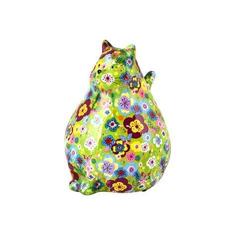Pomme Pidou Chat Chubby | Tirelire en Céramique | Motif Vert avec des Petites Fleurs |...