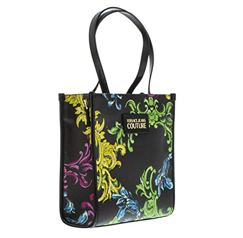 Versace Jeans Couture Baroque Print Black Multicolor Small Tote Bag for womens