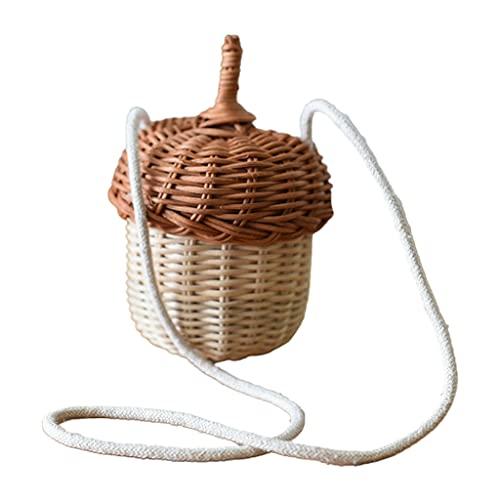 Handwoven Round Rattan Bag Bucket Tropical Beach Style Woven Shoulder Rattan Bag Photo Props Work Travel