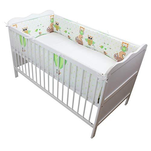 TupTam Babybett Bettumrandung Lang Gemustert, Farbe: Eulen Grün, Größe: 360x30cm (für Babybett 120x60)
