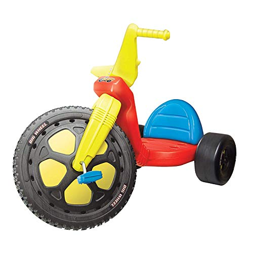 """The Original Big Wheel, Blue-Yellow-Red, Giant 16"""" Wheel Ride On Tricycle, 3 Position Seat - Trike Grows with Child, Kid Powered Pedal Bike, 50th Year, Sit Down Riding Around Outdoor Toy, Ages 3-8"""