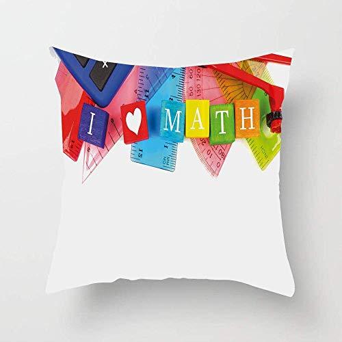 N\A Ich Liebe Mathe-Themenobjekte Herz-Symbol-Rechner Kompass-Lineal Kissenbezug Quadrat Dekorativer Kissenbezug Kissenbezug
