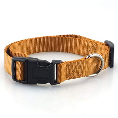 Collar de Perro clásico Collar de Perro de Nailon de poliéster alcalino sólido con Hebilla de Cierre rápido, se Puede Usar con una Correa - Marrón Claro, S