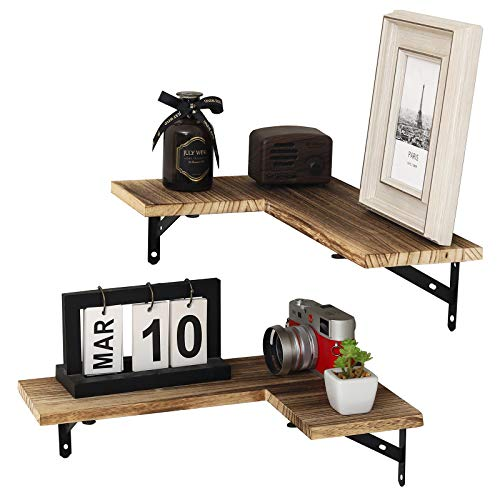 YCOCO Floating Shelves Wall Mounted Set of 2,Rustic Wood Corner Wall Storage Racks for Bedroom,Living Room,Kitchen,Office,Brown